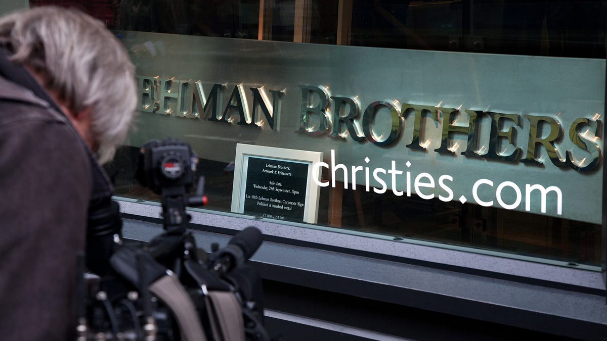 The Lehman Brothers company sign for Auction after bankruptcy at Christie's. London, UK.
