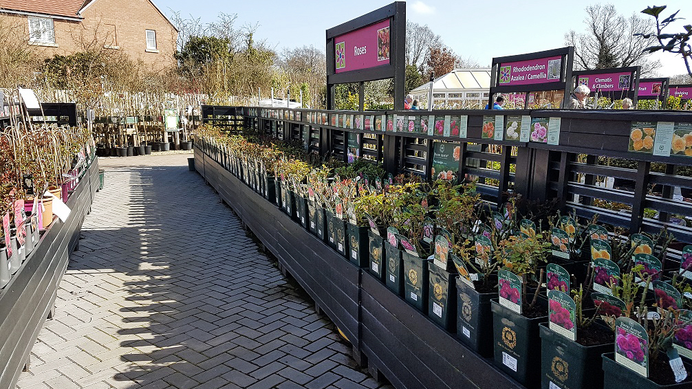 Photograph of a garden centre outdoors display area, made with Smartawood